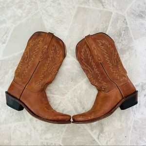 OLD WEST brown embroidered cowboy / girl boots 9